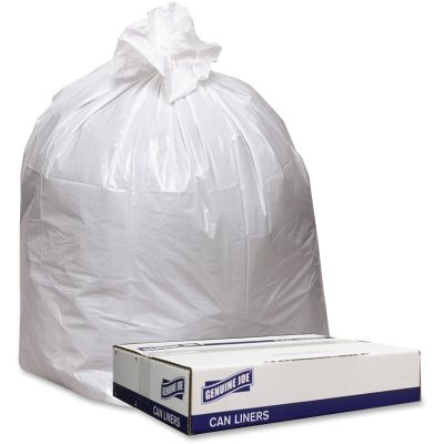 "Genuine Joe 3339W 33 Gallon Trash Can Liners / Garbage Bags, 0.9 Mil, 33"" x 39"", White - 100 / Case"