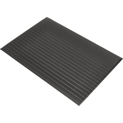 Genuine Joe 53231 Anti-Fatigue Floor Mat, Vinyl / Foam, Beveled Edge, 2' x 3', Black - 1 / Case