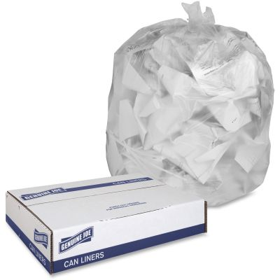 "Genuine Joe 70011 16 Gallon Trash Can Liners / Garbage Bags, 6 Mic, 24"" x 31"", Translucent - 1000 / Case"
