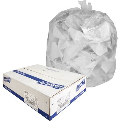 "Genuine Joe 70013 40-45 Gallon Trash Can Liners / Garbage Bags, 10 Mic, 40"" x 46"", Translucent - 250 / Case"