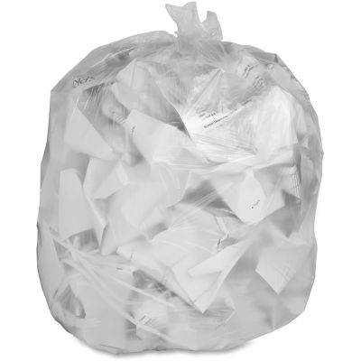 """Genuine Joe 70015 56 Gallon Trash Can Liners / Garbage Bags, 14 Mic, 43"""" x 46"""", Translucent - 200 / Case"""