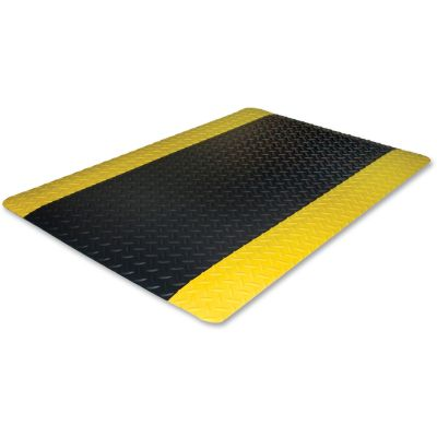 Genuine Joe 70364 Safe Step Anti-Fatigue Floor Mat, Beveled Edges, 3' x 5', Black / Yellow - 1 / Case