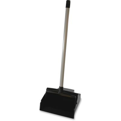 "Genuine Joe 85136 Lobby Dustpan, 30"" Straight Handle, Plastic, Black - 1 / Case"