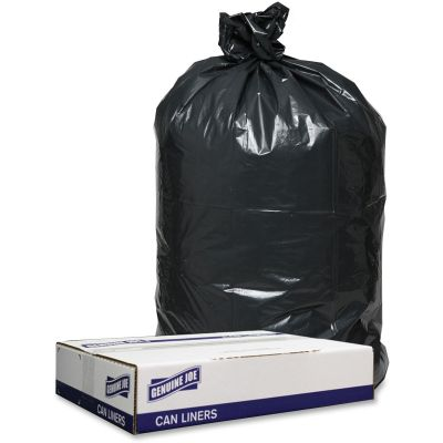 "Genuine Joe 98207 33 Gallon Trash Can Liners / Garbage Bags, 1.2 Mil, 33"" x 39"", Black - 100 / Case"