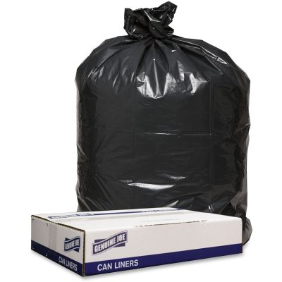 "Genuine Joe 98210 56 Gallon Trash Can Liners / Garbage Bags, 1.2 Mil, 43"" x 47"", Black - 100 / Case"