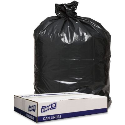 "Genuine Joe 98211 54-56 Gallon Trash Can Liners / Garbage Bags, 1.6 Mil, 43"" x 47"", Black - 100 / Case"