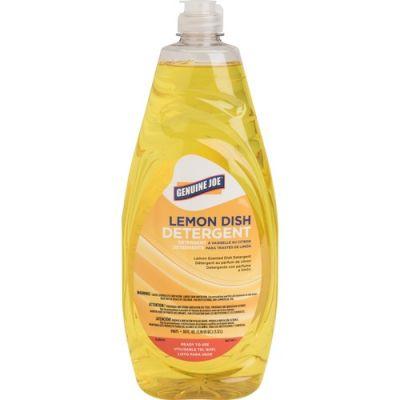 Genuine Joe 99675 Dish Detergent Liquid, Lemon, 38 oz - 8 / Case