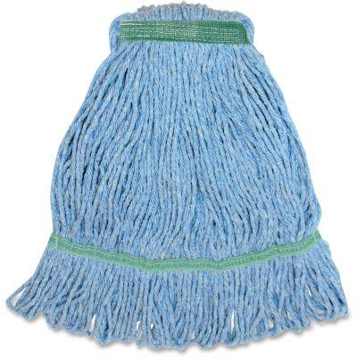"""Genuine Joe MBL1B Blue Cotton / Rayon Mop Heads, 1.25"""" Narrow Band, 16 oz - 12 / Case"""