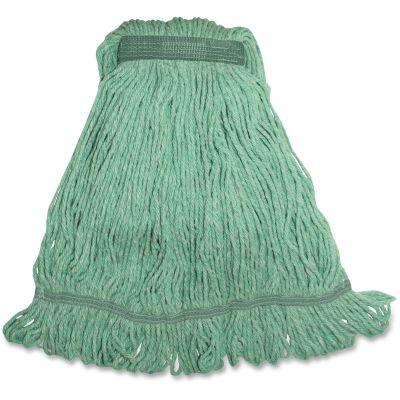"Genuine Joe MGR1B Green Rayon / Cotton Mop Heads, 1.25"" Headband, 16 oz - 12 / Case"