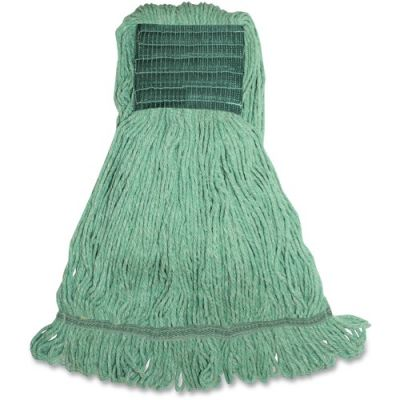 Genuine Joe MGR5B Green Rayon / Cotton Mop Heads, Wide Band, 16 oz - 12 / Case
