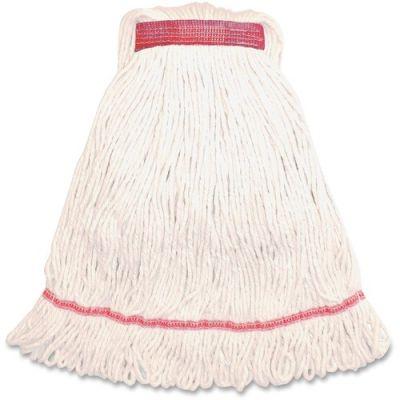 Genuine Joe MWH1B Synthetic Rayon / Cotton Blend Mop Heads, Narrow Band, Medium, 16 oz, White - 12 / Case