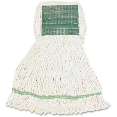 Genuine Joe MWH5B Synthetic Rayon / Cotton Blend Mop Heads, Wide Band, Medium, 16 oz, White - 12 / Case