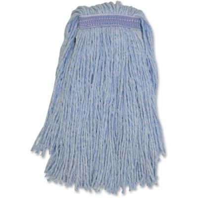 Genuine Joe N24B1B Blended Yarn Mop Heads, #24, Blue - 12 / Case