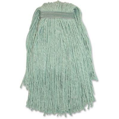 Genuine Joe N24G1B Yarn Mop Heads, #24, Narrow Headband, Green - 12 / Case