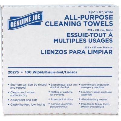 """Genuine Joe 20275 All-Purpose Cleaning Towels, 9.5"""" x 17"""", White - 1000 / Case"""