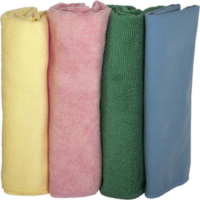 Genuine Joe 48261 Microfiber Cleaning Cloths, Color Coded, Yellow / Pink / Green / Blue Suede - 144 / Case