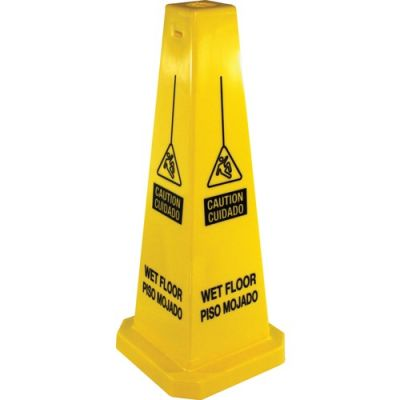 Genuine Joe 58880 Wet Floor Caution Safety Cone, 4-Sided, Yellow - 1 / Case