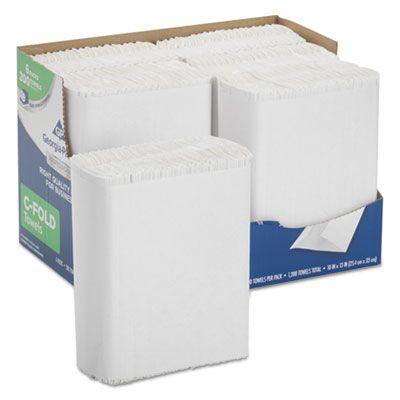 "Georgia-Pacific 2112014 Premium C-Fold Paper Hand Towels, 10"" x 13"", White - 1200 / Case"