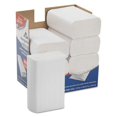 "Georgia-Pacific 2212014 Premium Multifold Paper Hand Towels, 9-2/5"" x 9-1/5"", White - 2000 / Case"