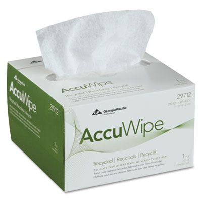 "Georgia-Pacific 29712 Accuwipe Eyeglass / Delicate Task Wiping Cloth, 4-1/2"" x 8-1/2"", White - 16800 / Case"