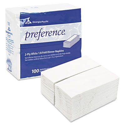 """Georgia-Pacific 31436 Preference Paper Dinner Napkins, 2 Ply, 1/8 Fold, 15"""" x 16"""", White - 3000 / Case"""