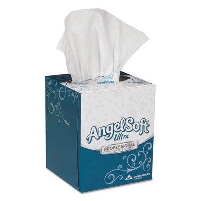 "Georgia-Pacific 46560 Angel Soft Ultra Premium Facial Tissues, 2 Ply, 96 Sheets / Cube Box, 8.5"" x 7.63"", White - 36 / Case"