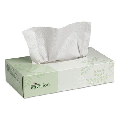 "Georgia-Pacific 47410 Envision Facial Tissue, 2 Ply, 8.38"" x 8"", 100 Sheets / Flat Box - 30 / Case"