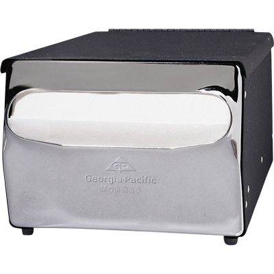 "Georgia-Pacific 51202 MorNap Napkin Dispenser, 7-7/8"" x 11-1/2"" x 5-7/8"", Black Chrome - 1 / Case"
