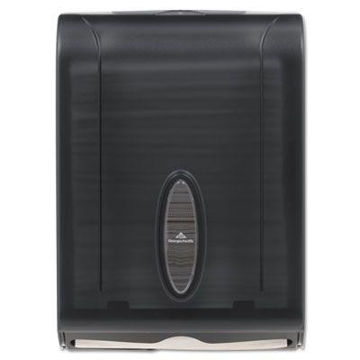 Georgia-Pacific 5665001 Dispenser for C-Fold, Multifold, BigFold Paper Hand Towels, Translucent Smoke - 1 / Case