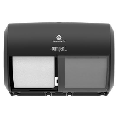 Georgia-Pacific 56784A Compact Coreless 2-Roll Toilet Paper Dispenser, Black - 1 / Case
