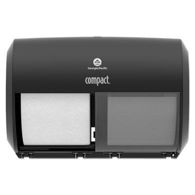 Georgia-Pacific 56784A Compact Coreless 2-Roll Toilet Paper Dispenser, Black - 1 / Case