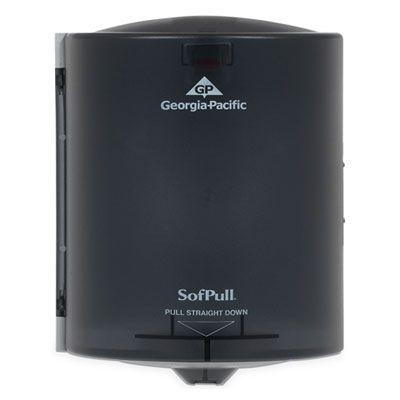 "Georgia-Pacific 58201 SofPull Centerpull Paper Hand Towel Dispenser, 10-7/8"" x 10-3/8"" x 11-1/2"", Smoke - 1 / Case"