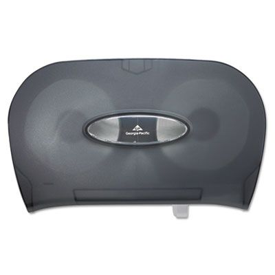 "Georgia-Pacific 59206 Micro-Twin Double Roll Toilet Paper Dispenser, 13.56"" x 5.75"" x 8.63"", Smoke - 1 / Case"