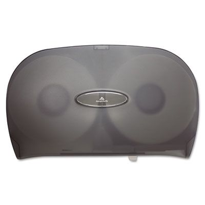 "Georgia-Pacific 59209 Jumbo Jr. 2-Roll Toilet Paper Dispenser, 20.2"" x 5.4"" x 12.25"", Smoke - 1 / Case"