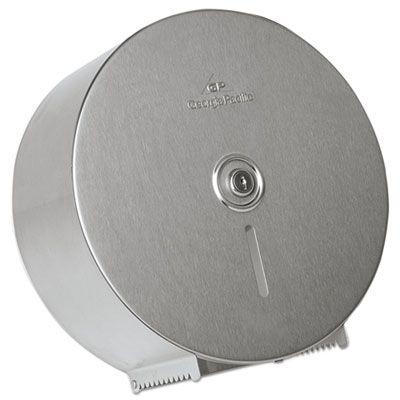 "Georgia-Pacific 59449 Dispenser for 12"" Jumbo Roll Toilet Paper, Single Roll, Stainless Steel - 1 / Case"