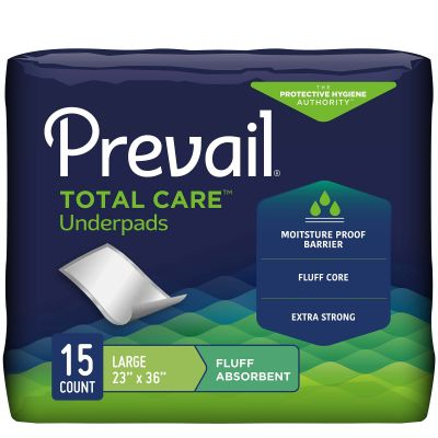 """First Quality UP-150 Prevail Underpads, 23"""" x 36"""", Disposable, Fluff, Light Absorbency - 150 / Case"""