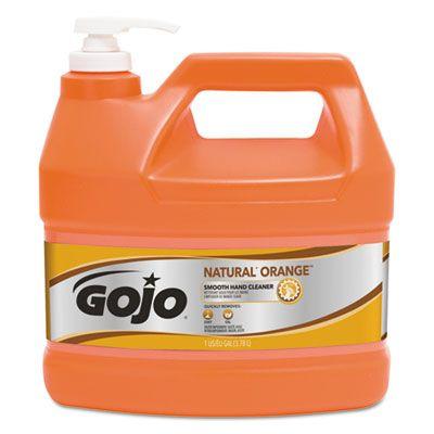 GOJO 94504 Natural Orange Smooth Hand Cleaner, 1 Gallon Pump Bottle - 4 / Case