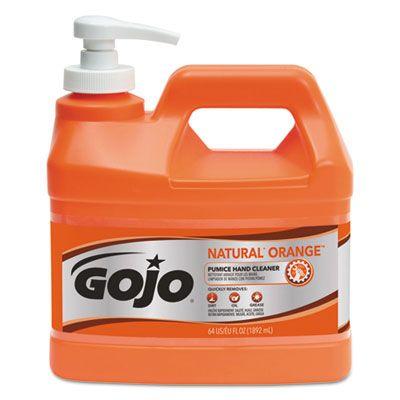 GOJO 095804 Natural Orange Pumice Hand Cleaner, Citrus, .5 Gallon Pump Bottle - 4 / Case