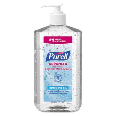 GOJO 302312 PURELL Advanced Instant Hand Sanitizer Gel, 20 oz Pump Bottle - 12 / Case