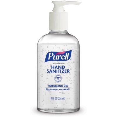 GOJO 410212S Purell Advanced Hand Sanitizer Gel, Refreshing Scent, 8 oz Pump Bottles - 12 / Case