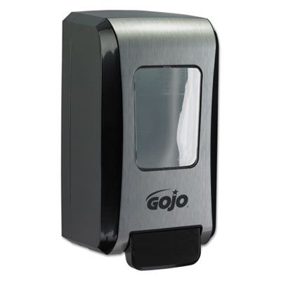 "GOJO 527106 FMX-20 Soap Push-Style Dispenser, 2000 mL, 6-1/2"" x 4-7/10"" x 11-7/10"", Black / Chrome - 6 / Case"