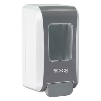 "GOJO 527706 PROVON FMX-20 Push-Style Soap Dispenser, 2000 mL, 6-1/2"" x 4-7/10"" x 11-7/10"", Gray / White - 6 / Case"