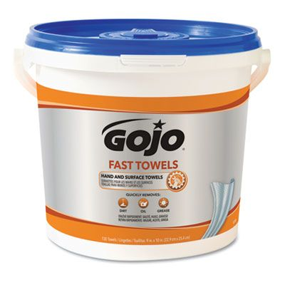 "GOJO 6298 Fast Towels Heavy Duty Wet Wipes, 7-3/4"" x 11"", Blue - 520 / Case"