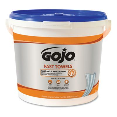 "GOJO 629902 Fast Towels Heavy Duty Wet Wipes, 9"" x 10"", Blue - 225 / Case"
