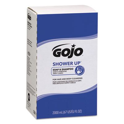 GOJO 7230 Shower Up Soap & Shampoo, Rose Colored, Pleasant Scent, 2000 mL Refill - 4 / Case