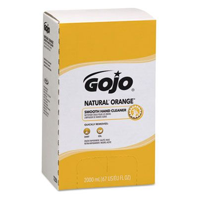 GOJO 7250 Natural Orange Smooth Lotion Hand Cleaner, 2000 mL Bag-In-Box Refill - 4 / Case