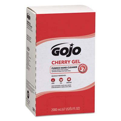 GOJO 729004 Cherry Gel Pumice Hand Cleaner, 2000 mL Refill - 4 / Case
