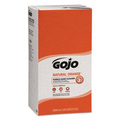 GOJO 7556 Natural Orange Pumice Hand Cleaner, Citrus, 5000 mL Refill - 2 / Case