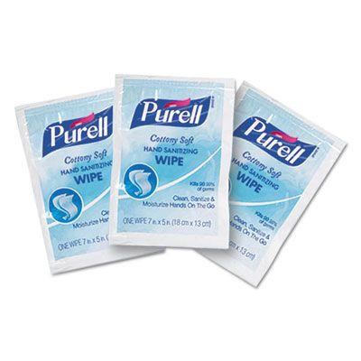 GOJO 90261M PURELL Cottony Soft Sanitizing Hand Wipes, 62% Alcohol - 1000 / Case