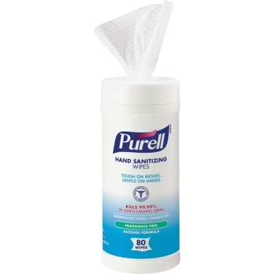 """GOJO 903012 Purell Hand Sanitizing Wipes, Alcohol, 6"""" x 7"""", 80 / Canister - 12 / Case"""